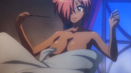 ゼロの使い魔1期 キュルケの胸裸ヌード入浴シーン4