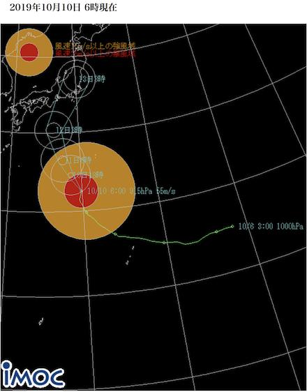 台風19号進路図