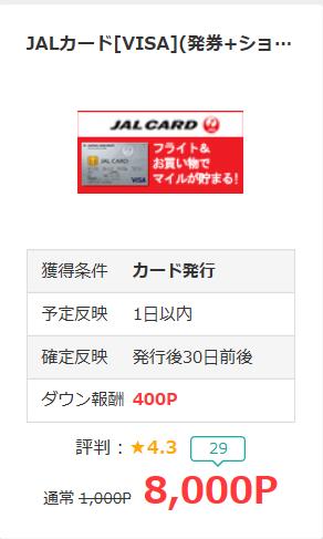 モッピー経由JALカードで8,000ポイント