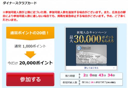ハピタス経由ダイナース発行で20000円