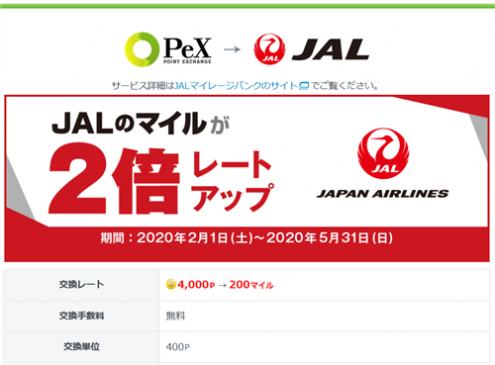 PeXのJALマイル交換レート2倍アップキャンペーン