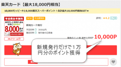 モッピー経由で楽天カード発行で10,000ポイント獲得