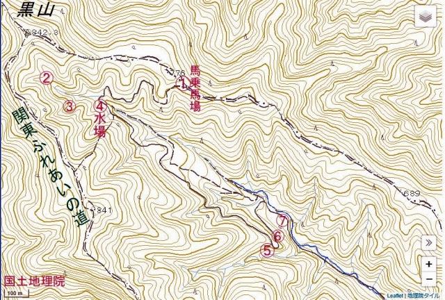 ☆黒山 成木川源流 国土地理院