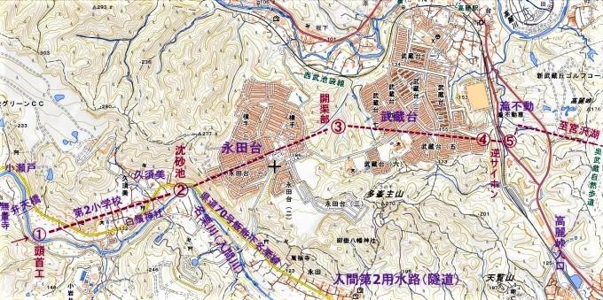 ☆地図 小瀬戸ー多峯主山ー滝不動 入間第2用水路 国土地理院