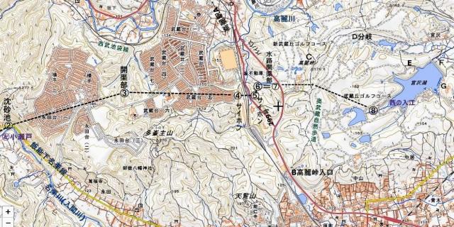 ☆地図 40永田台-多峯主山ー高麗峠-宮沢湖 国土地理院