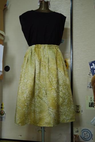 着物リメイク タックスカート ギャザースカート