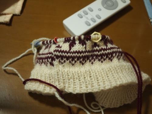 #初心者 #編み物 #棒針編み #Knit #sewing 編み込みの帽子