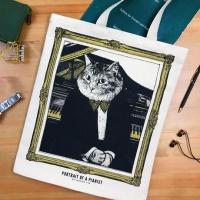 クラシックキャットトートバッグ- ピアノ