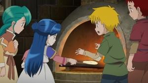パンケーキを作るマイン