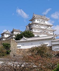 斜めからの姫路城天守閣
