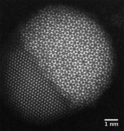 シリコンウェハ酸化膜上で原子分解能で観察に成功