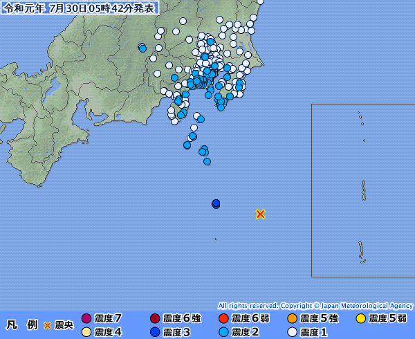 東京都八丈島で最大震度3の地震発生 M6.0 震源地は八丈島東方沖 深さ約60km