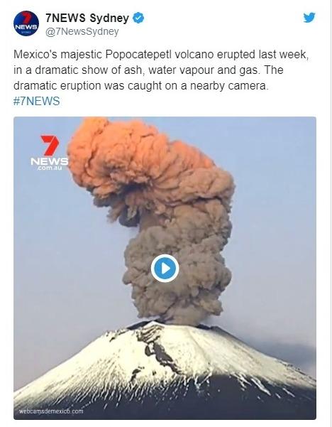 【噴煙】メキシコのポポカテペトル火山が13日から続いて相次いで噴火