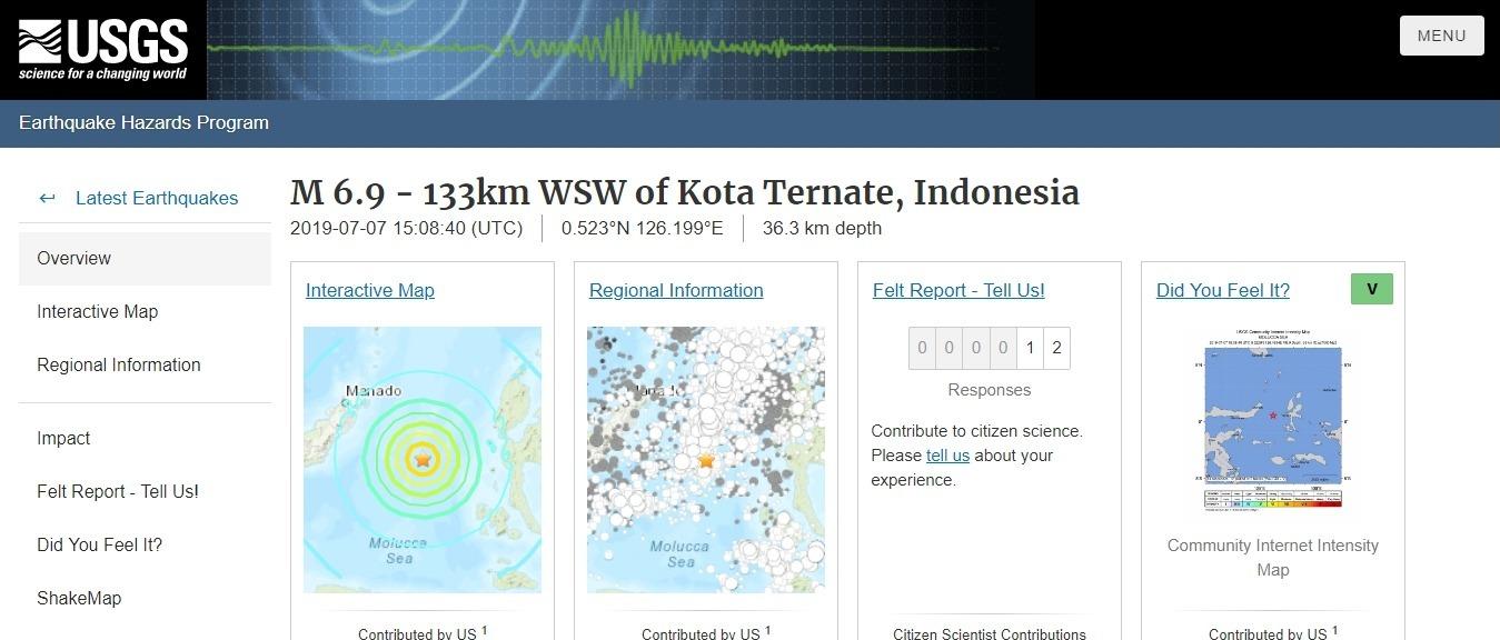 【USGS】インドネシア東部で「M6.9」の大地震が発生!