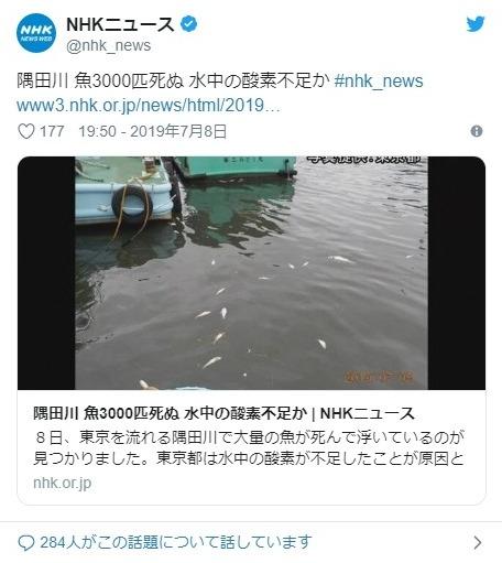 【東京】隅田川で魚の「コノシロ3000匹」が死んで浮かんでいるのが見つかる…原因は酸素不足か?