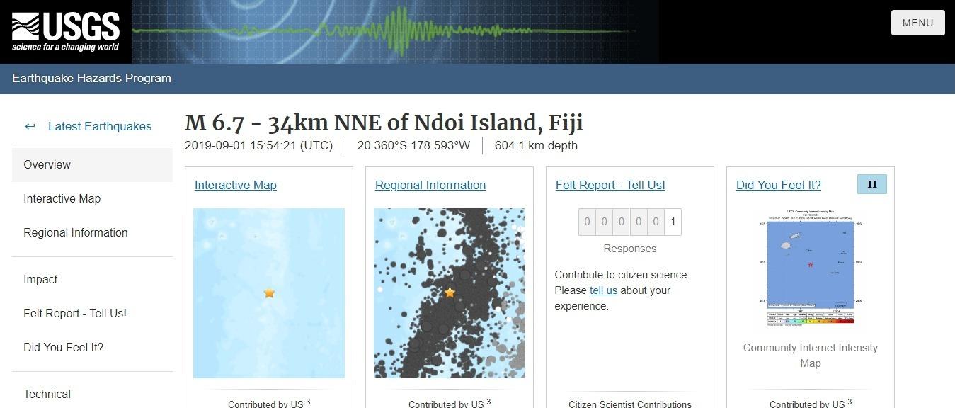 【地震法則】2日、フィジーで「M6.7」の地震発生 深さ約604km