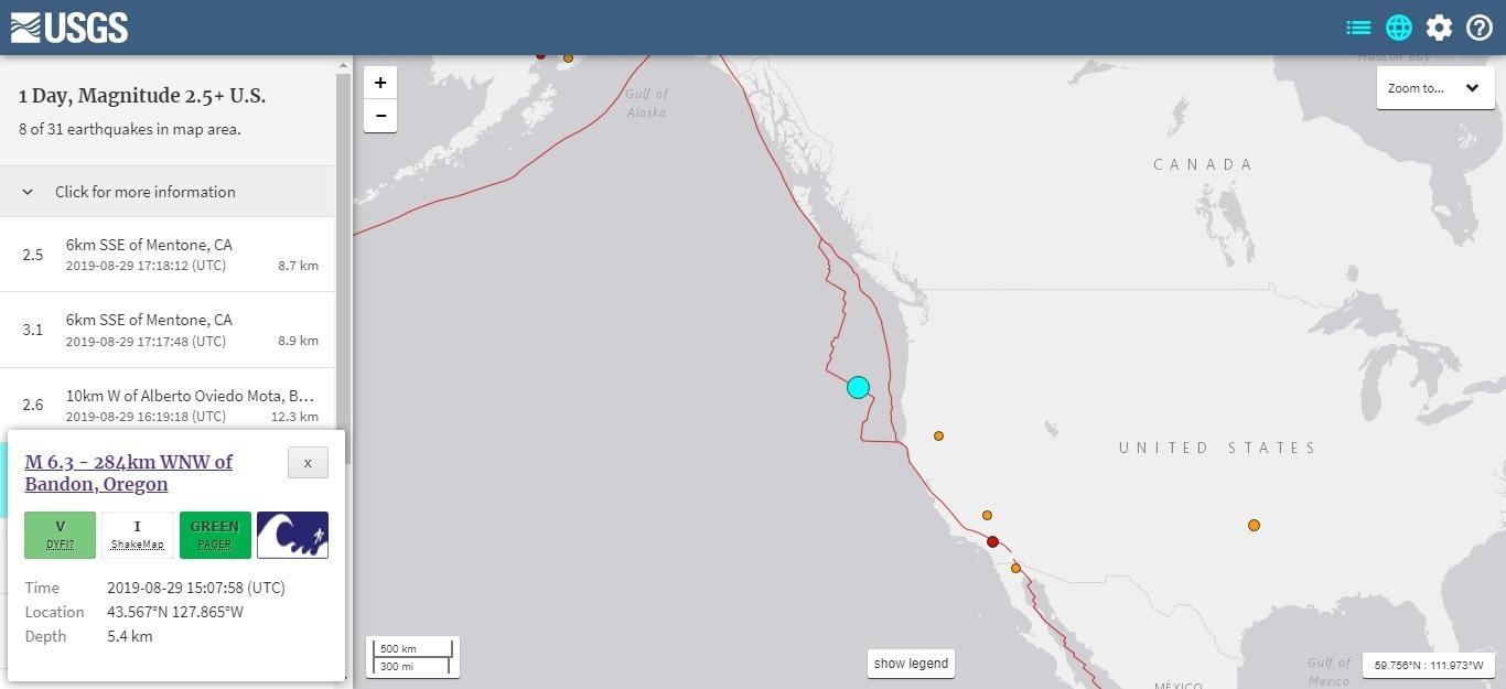 【アメリカ】西海岸オレゴン州沖で「M6.3」の地震発生