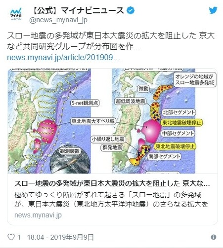 東日本大震災は「スロースリップ」地震の多発域がバリアになり、そのおかげで「巨大地震」の拡大を阻止したことが判明