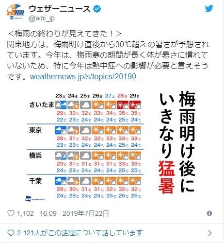 【猛暑到来か】関東では梅雨前線が去った後、いきなり「猛暑」になる模様