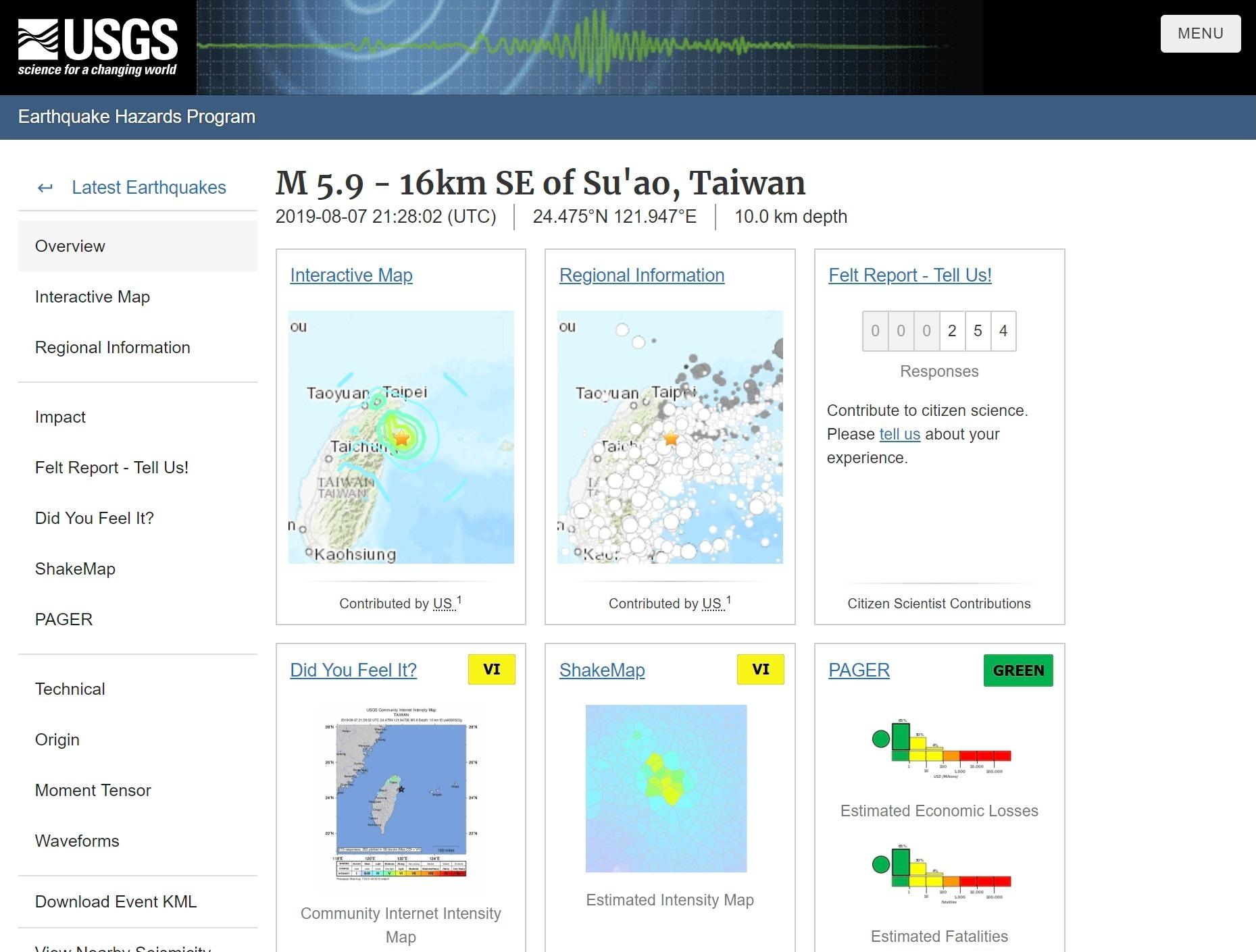 台湾東部で「M5.9」の地震発生!最大震度6…広い範囲で強い揺れ観測