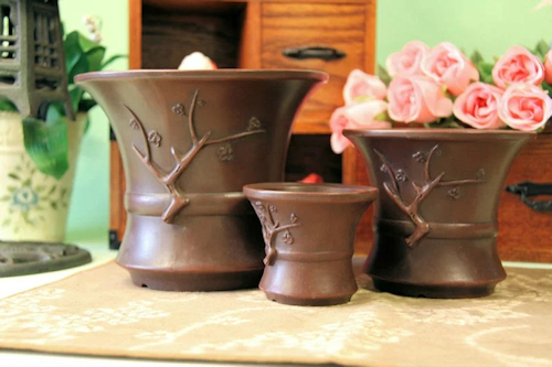 中国宜興 三客梅枝植木鉢 盆栽鉢