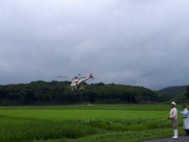 【写真】農園前の田んぼにラジコンヘリが農薬を散布しているところ