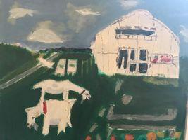 【写真】甥っ子・瞭太郎が描いたポレポレ農園の絵(受付ハウスとアランとポール)