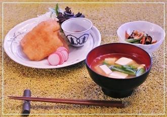 鮃フライ&キンピラ&味噌汁