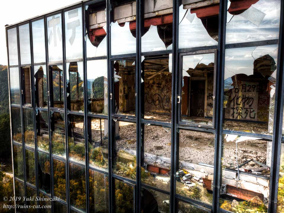 ホテル・ファミテック(廃墟)空撮 最上階の展望レストラン
