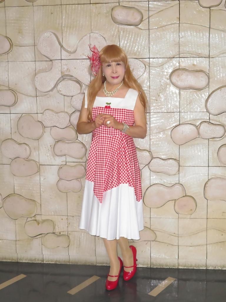 赤白格子柄舞台ドレスA(2)