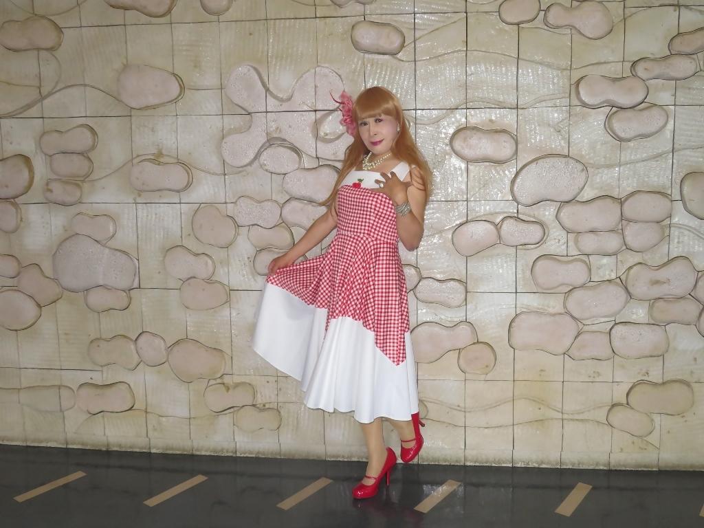 赤白格子柄舞台ドレスA(6)