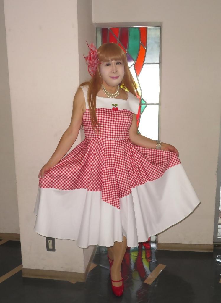 赤白格子柄舞台ドレスB(3)