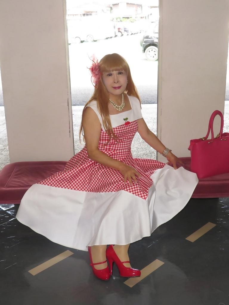 赤白格子柄舞台ドレスB(5)