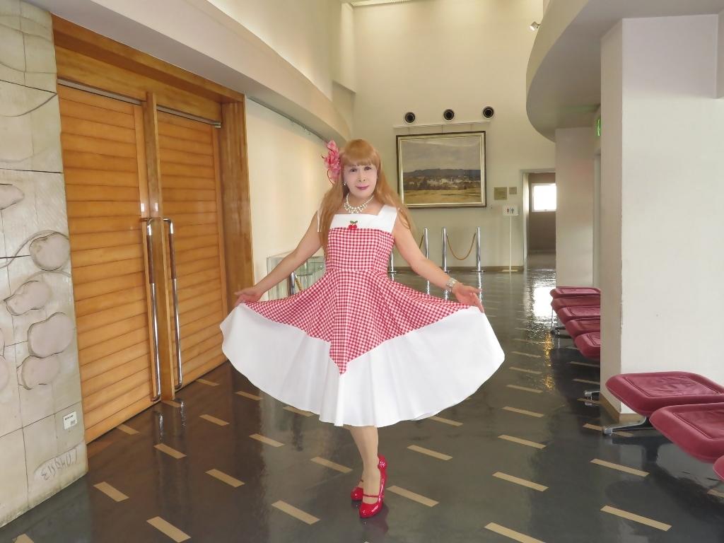 赤白格子柄舞台ドレスB(7)