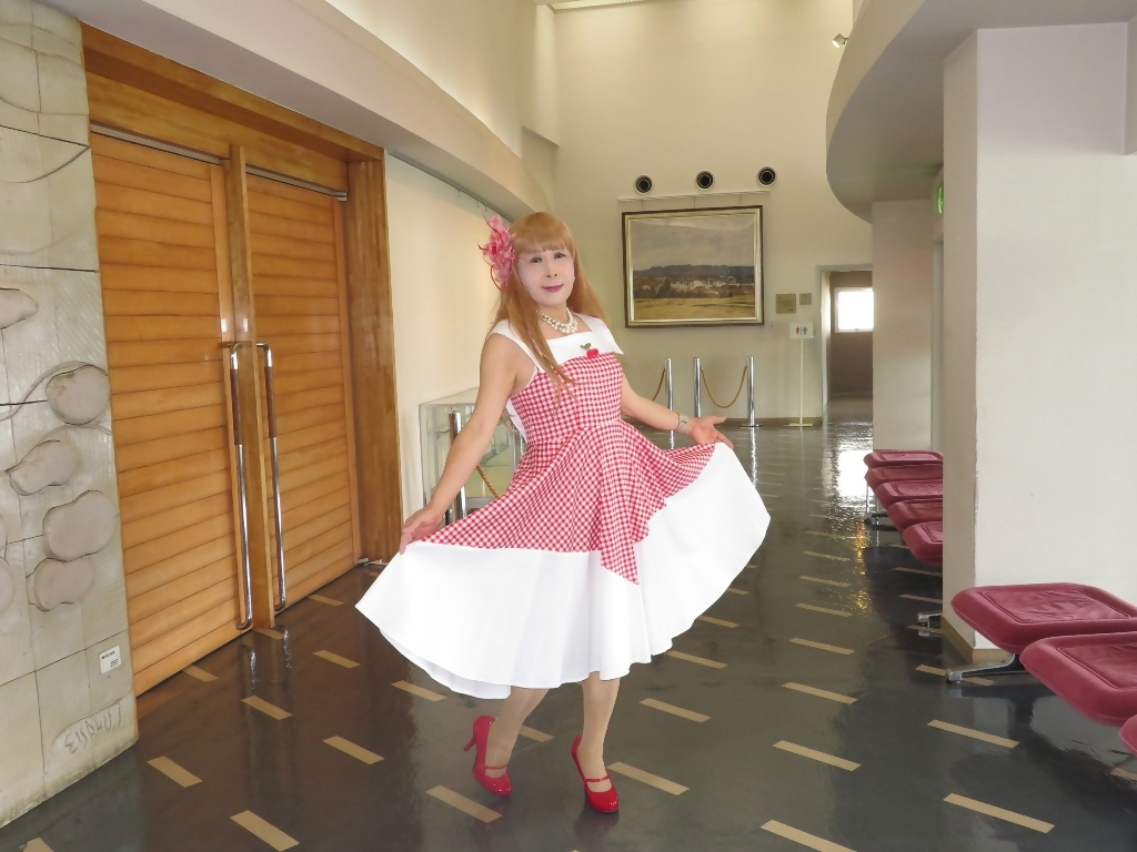 赤白格子柄舞台ドレスB(8)