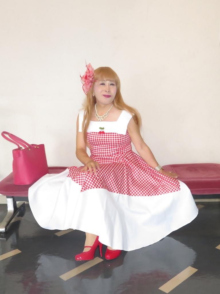 赤白格子柄舞台ドレスC(2)
