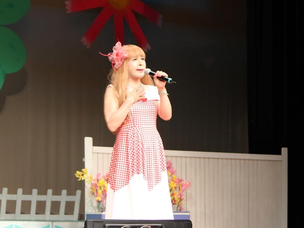 赤白格子柄舞台ドレス横画像(1)