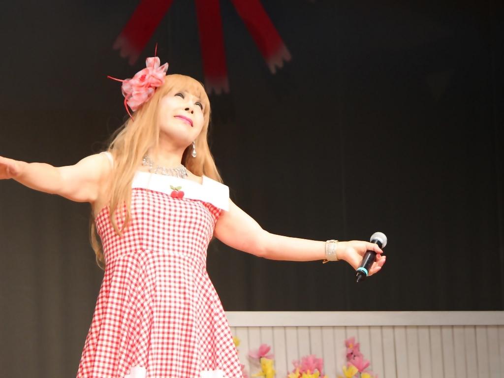 赤白格子柄舞台ドレス横画像(8)