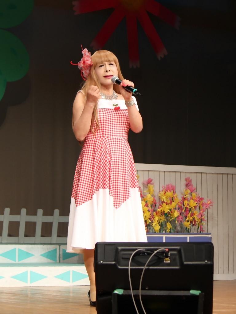 赤白格子柄舞台ドレス縦画像(2)