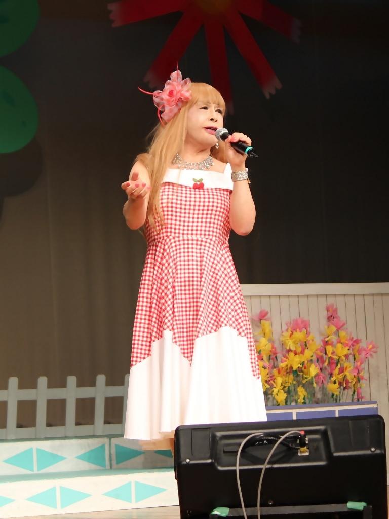 赤白格子柄舞台ドレス縦画像(1)