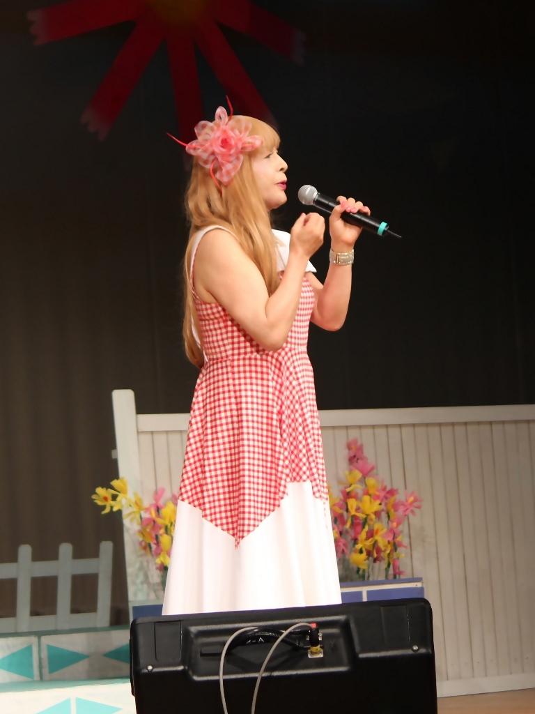 赤白格子柄舞台ドレス縦画像(4)