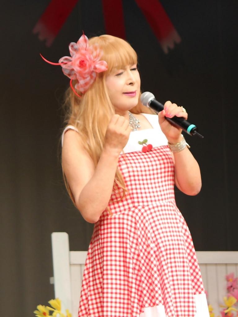 赤白格子柄舞台ドレス縦画像(6)