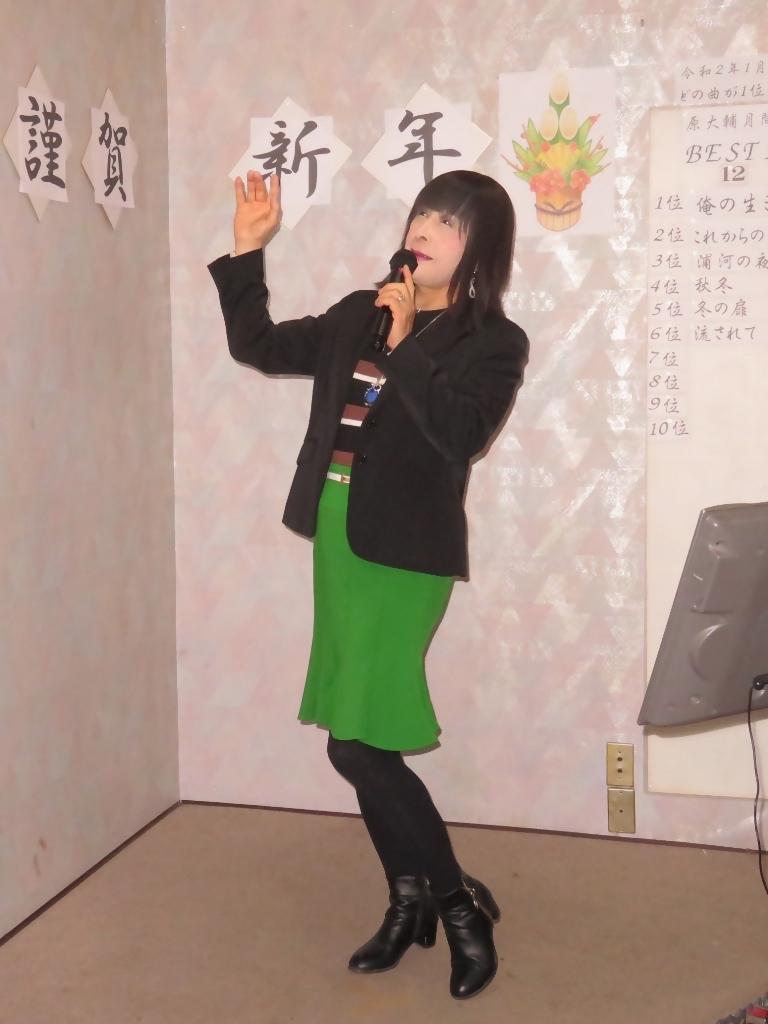 緑マーメイドスカート黒ジャケットカラオケ(3)