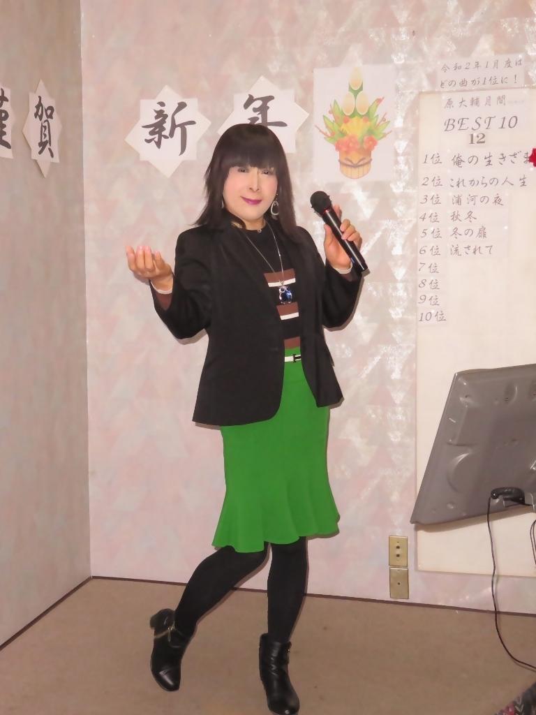 緑マーメイドスカート黒ジャケットカラオケ(4)