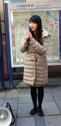 たまたま街宣中で見かけました。幸福実現党のアイドル・七海ひろこさん