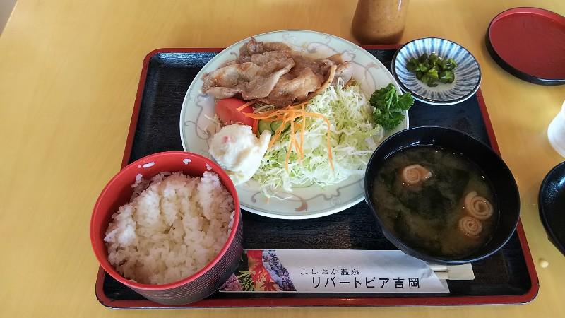 道の駅よしおか温泉上州麦豚生姜焼き定食201907