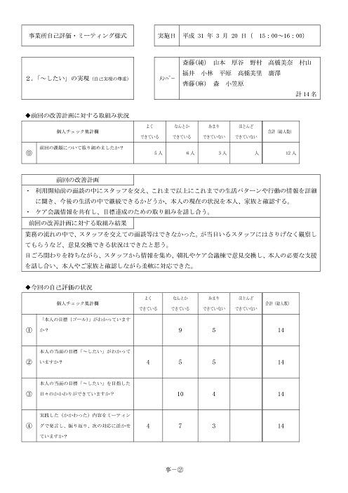 平成30年度ステラ新琴似サービス評価 -04