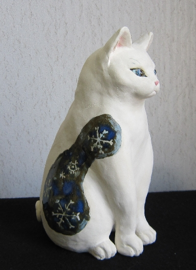 雪模様の猫#すず音窯#陶器置物 #めいこ