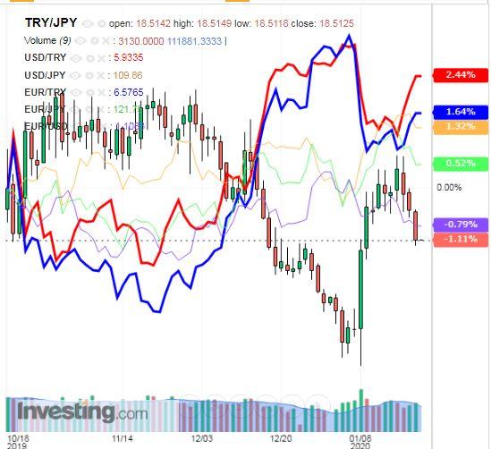 トルコリラ円 TRY/JPY(日足) 2019年1月22日