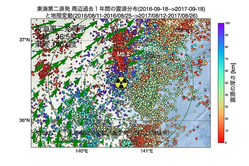 800px-東海第二発電所所周辺の過去1年間の地震の震源分布と地殻変動-1